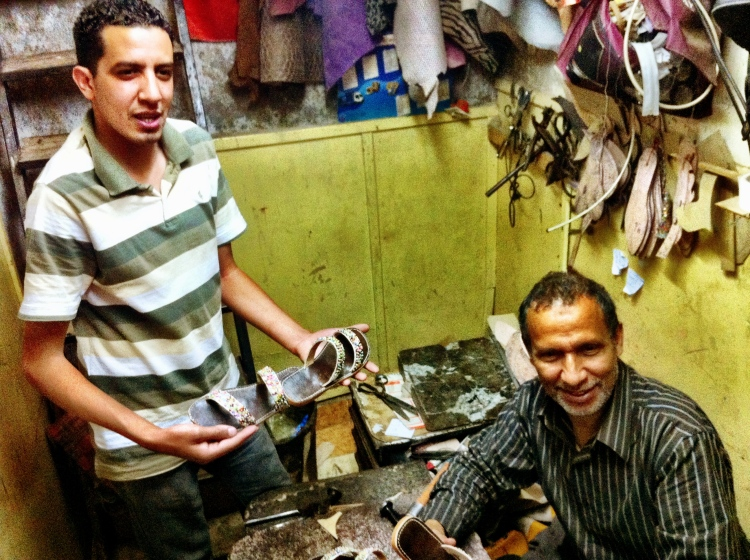 We spent the afternoon with these shop owners. They welcomes us in with mint tea and afternoon chats. It is a father/son shoemaking coop. The image below are a pair of the BEAUTIFUL handmade flats I purchased:)  Yusaf (Son) and El Haj (Father)