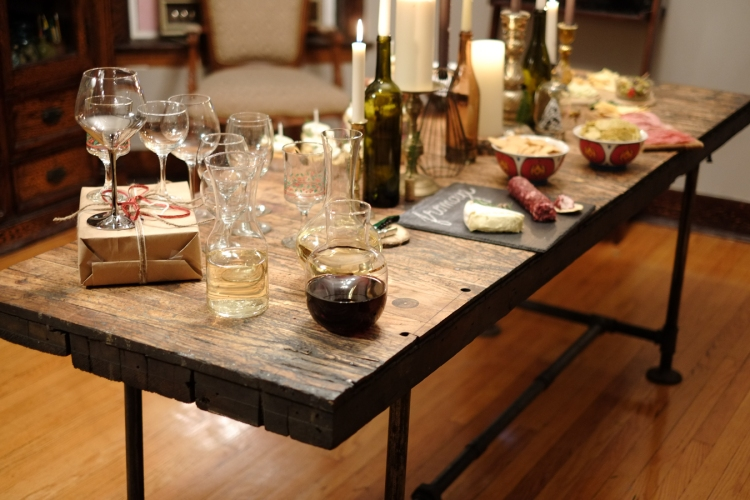 : We made a trip to Trader Joes and picked up a few bottles of Bonterra, an organic winery that let chickens and sheep roam around their grapes☺. Bonterra has producing organic wine since 1987, so impressive!  We displayed the wine in decanters, which we thought would add a nice 'classy' touch to the table.