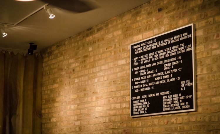 Menu on exposed brick!