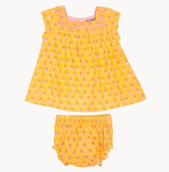 Pink Chicken's Hope 2-Piece Set for infants, featuring an adorable all-over block print.