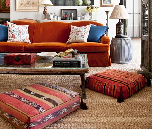 The perfect floor accent! Especially if you have a simple area rug, works as a great color pop!