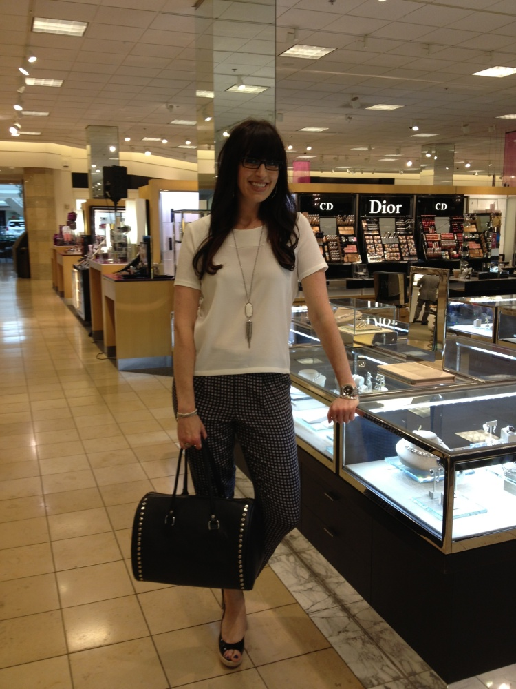 Meet Christina! She is Midwest regional Merchandiser for Jewelry at Nordstroms and she has clearly accessorized our black bowler bag perfectly! Thanks Christina, Looking fabulously chic!